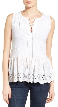 Women's Lucky Brand Embellished Lace-Up Cotton Peplum Tank $69.50 thestylecure.com