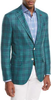 Isaia Sanita Glen Plaid Two-Button Sport Coat Green/Navy