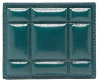 Bottega Veneta Quilted Crackled Leather Card Holder - Womens - Dark Green