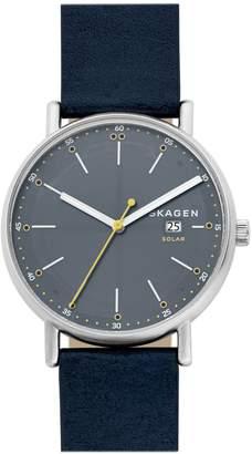 Skagen Hagen Signature Solar Blue Leather Strap Watch