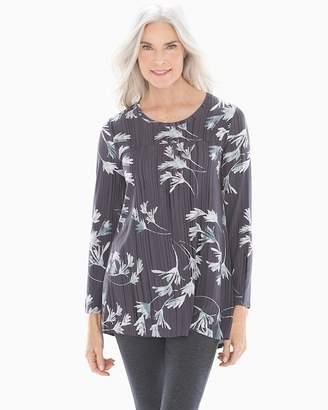 6422f999db1 Soft Jersey Long Sleeve Yoke Tunic Modern Brush Floral Gray