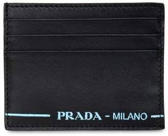4dcd7df0871f ... best price at luisaviaroma prada leather card holder w contrast logo  0deba b2d3a