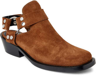 Balenciaga Brown Suede Harness Cutout Ankle Booties