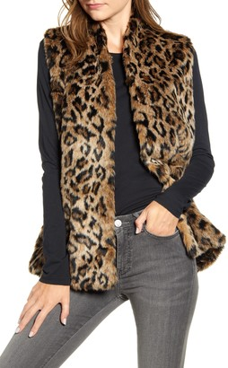 Velvet by Graham & Spencer Leopard Faux Fur Long Vest