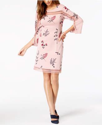 Alfani Petite Illusion-Lace Shift Dress