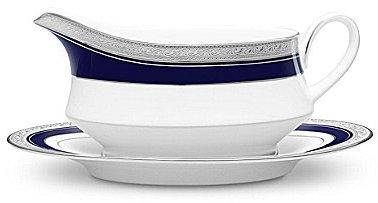 NoritakeNoritake Crestwood Cobalt Etched Platinum Porcelain Gravy Boat with Stand