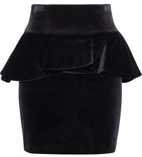 Pierre Balmain Stretch-Cotton Velvet Peplum Mini Skirt