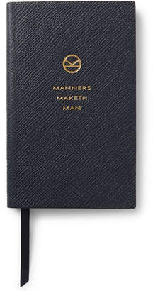 Smythson Kingsman - + Panama Cross-grain Leather Notebook - Navy