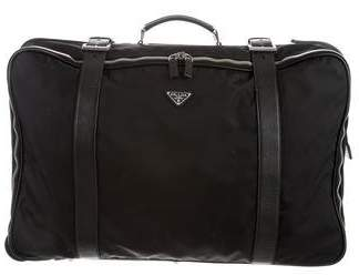 Prada Leather-Trimmed Tessuto Suitcase