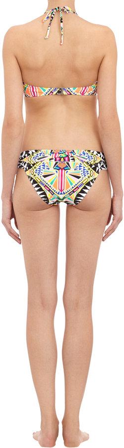 Mara Hoffman Abstract-Print Ruched Bikini Bottom