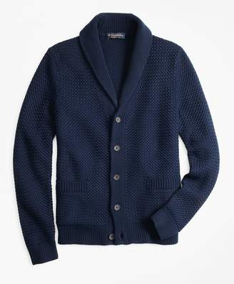 Brooks Brothers Basket Stitch Shawl Collar Cardigan a421b7793