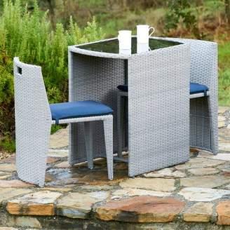 Orren Ellis Celle Wicker Outdoor 3 Piece Bistro Set with Cushions