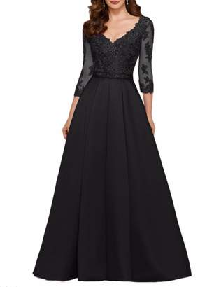 Rieshaneea Evening Dresses 3/4 Sleeve Satin Lace Formal Prom Gown