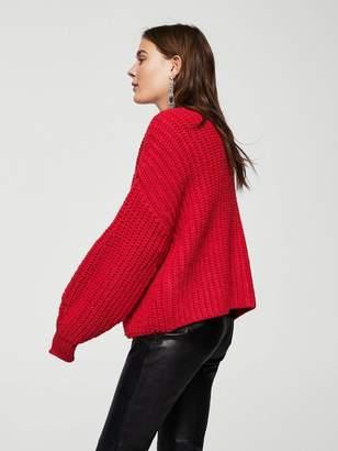 MANGO Chunky Knit Cardigan - Red