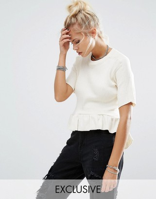 Milk It Vintage Ribbed T-Shirt With Peplum Frill Hem $49 thestylecure.com