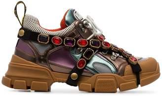 Gucci multicoloured metallic flashtrek removable crystal sneakers