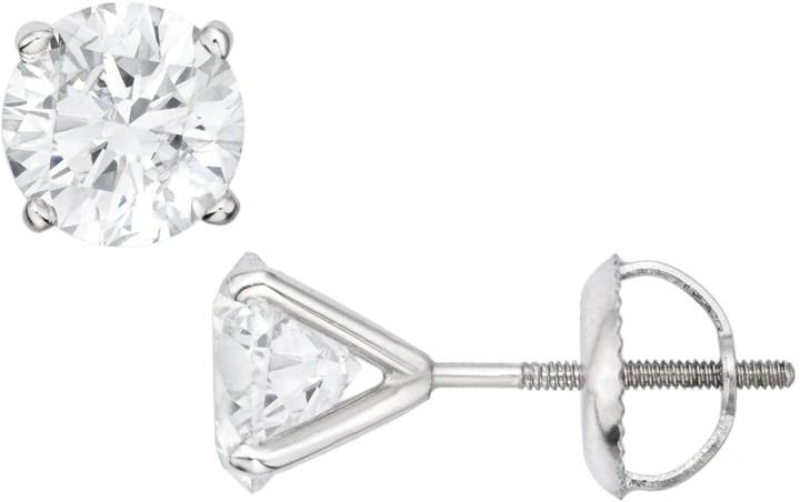 Ice.com 2 Carat Diamond Stud 14K White Gold Earrings