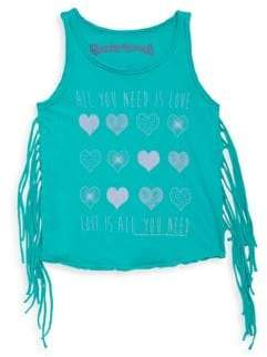 Rowdy Sprout Toddler, Little Girl's& Girl's Graphic Fringe Cotton Tank Top