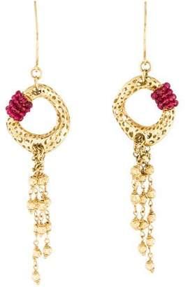 18K Ruby Drop Earrings