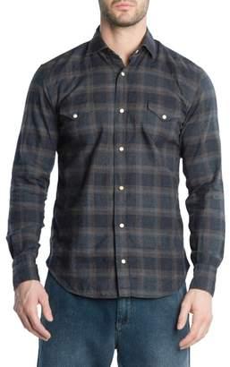 Eleventy Slim Fit Plaid Western Shirt