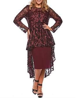 Layla Jones Long Sleeve Hi-Low Lace Overlay Cocktail Dress