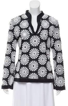 Tory Burch Embellished Embroidered Long Sleeve Blouse