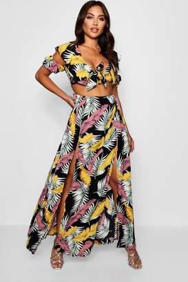 boohoo Rose Knot Front Double Split Palm Print Maxi Dress