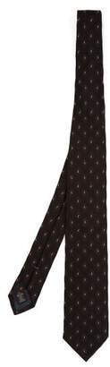 Ermenegildo Zegna Paisley Embroidered Silk Tie - Mens - Navy Multi