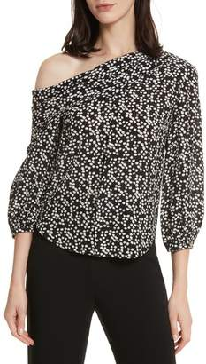 Saloni Ness Print Silk Off the Shoulder Top