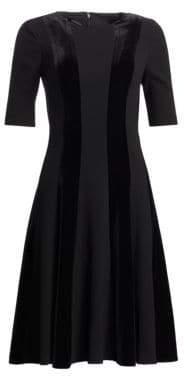 Teri Jon by Rickie Freeman by Rickie Freeman Women's Velvet Striped Fit-&-Flare - Black - Size 2