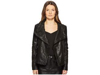 LAMARQUE Talia-Veg Funnel Neck Leather Jacket