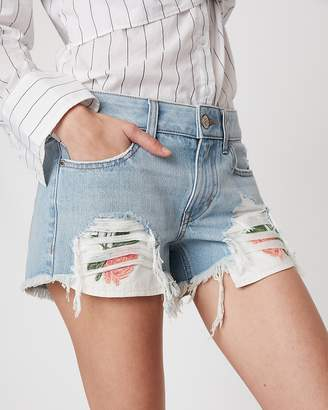 Express Low Rise Relaxed Destroyed Floral Embroidered Original Denim Shorts