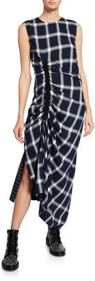 McQ Wool-Blend Checked Draped Drawstring Dress