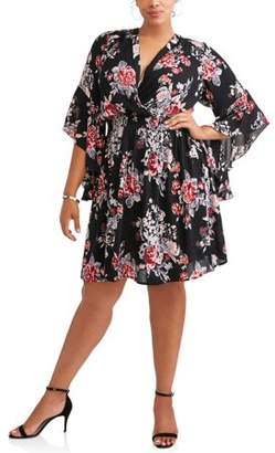 Romantic Gypsy Women's Plus Size Dramatic Bell Sleeve Floral Surplice Dress