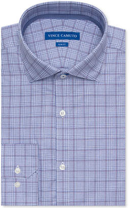 Vince Camuto Men's Slim-Fit Comfort Stretch Grape Plaid Dress Shirt
