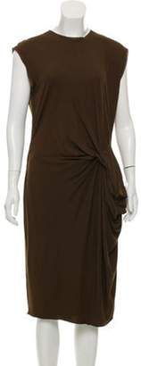 Lanvin Gathered Raw-Edge Dress Brown Gathered Raw-Edge Dress