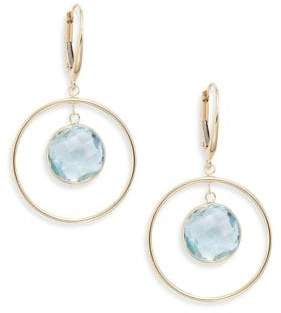 Saks Fifth Avenue Blue Topaz & 14K Yellow Gold Circle Drop Earrings