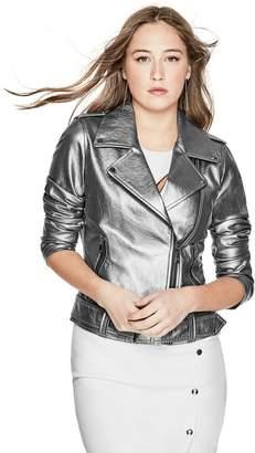 GUESS Women's Metallic Moto Jacket