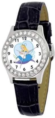 Disney Women's D1502S005 Queen Collection Alice in Wonderland Black Leather Strap Watch