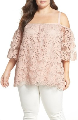 Plus Size Women's Vince Camuto Lace Cold Shoulder Top $124 thestylecure.com