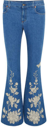 Gucci Embroidered High-rise Flared Jeans - Mid denim