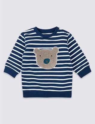 Marks and Spencer Organic Cotton Stripe Bear Sweatshirt