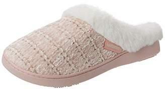 Isotoner Women's Chenille Mule Fur Cuff Slippers Open Back (Grey Gry), 37 EU