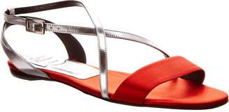 Roger Vivier Metallic Leather & Satin Sandal