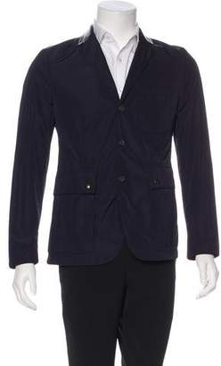 Burberry Leather-Trimmed Notch-Lapel Blazer
