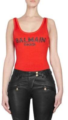 Balmain Metallic Logo Bodysuit