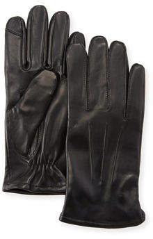 Neiman Marcus Three-Point-Stitch Leather Tech Gloves