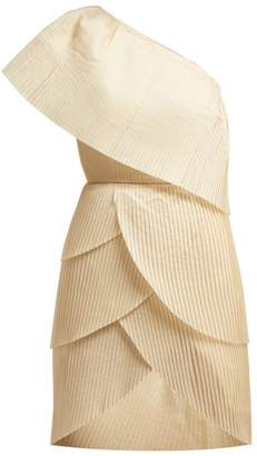 Aje - Blythe Asymmetric Pleated Mini Dress - Womens - Light Yellow