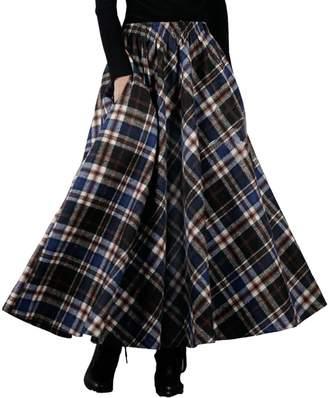 Femirah Women's Pleated Plaid Skirt Winter Woolen Long Maxi Skirt