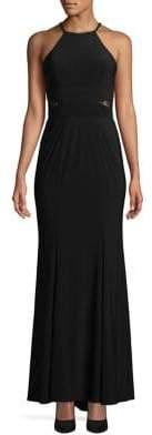Xscape Evenings Lace-Paneled Halter Dress
